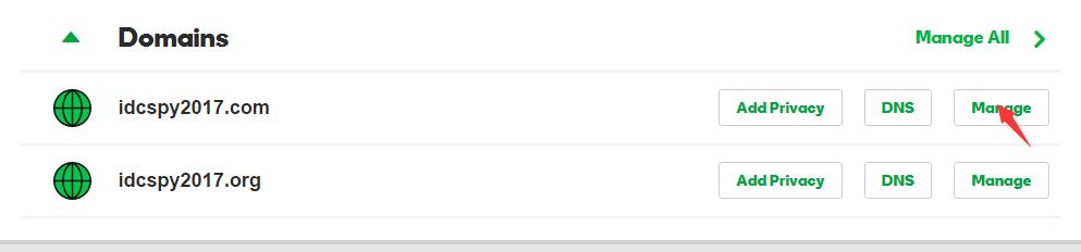 """域名列表里面选择要更改whois的域名,点击后面的""""Manage"""""""