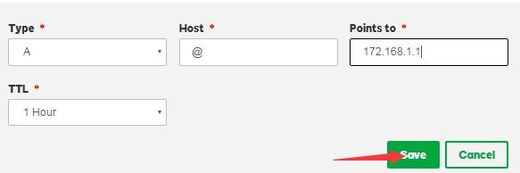 """设置主机名,指向IP,以及TTL值,然后点击""""保存"""""""