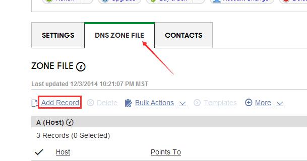"""进入域名控制面板,在""""DNS ZONE FILE""""里面我们选择""""Add Record"""""""