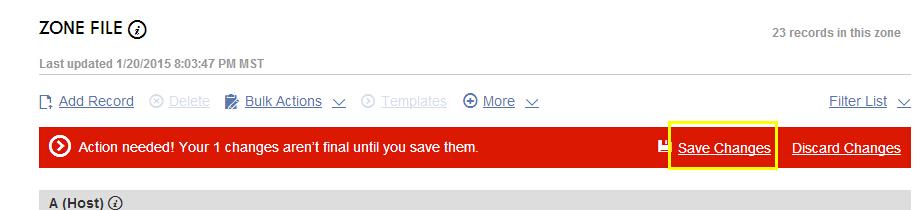 """MX记录添加完成后,我们会看到下图中的红色提示,点击""""Save Changes""""保存即可"""