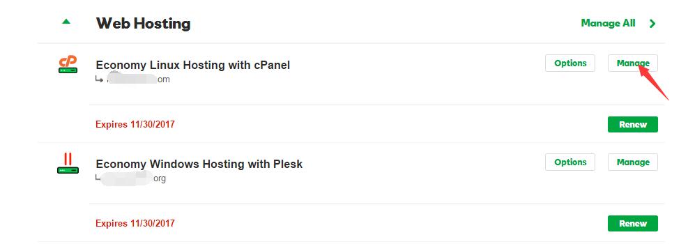 """登录BlueHost账户,找到""""WEB HOSTING""""列表,然后点击要更换主域名的主机后面的""""Manage""""按钮"""
