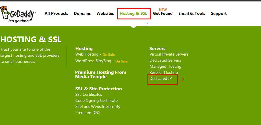 """进入官网,点击导航上面的""""Hosting&SSL""""选项,在出现的下来框中再点击""""Dedicated IP"""""""