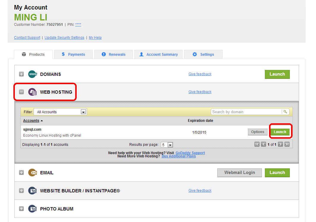 进入官方网站,输入用户名和密码,然后展开WEB HOSTING,点击虚拟主机下面的Launch按钮。