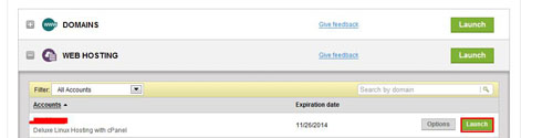"""登录到GoDaddy账户,点击""""WEBHOSTING"""",点击想要创建数据库的虚拟主机后面的绿色""""Launch""""按钮进入主机的控制面板。"""