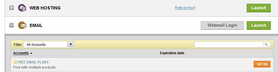 """登录到GoDaddy账户中心,我们在""""EMAIL""""一栏里看到可申请的免费邮箱。我们点击后面的""""Set Up""""进入下一步。"""