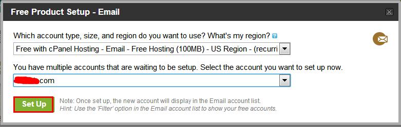 """.此时在新的页面里看到100MB容量的邮箱,并且选择想要的邮箱机房(目前有美国、欧洲和新加坡三个机房),然后选择域名。确认后点击下面的""""Set Up""""。"""