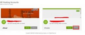 """登录gateway.godaddy.com后,会看到主机的域名,选择windows主机想要更改的域名,点击右下角的""""settings"""","""